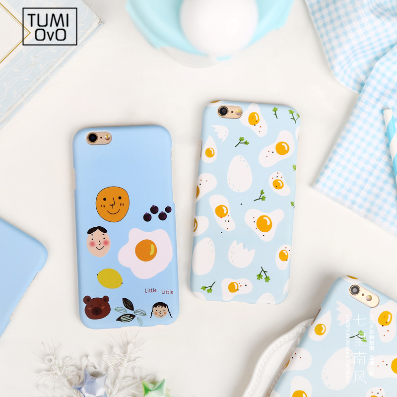 Fashion Scrub Brakfast Egg Case For iPhone 5 5s SE Hard PC Half For iPhone 6 6s 7 Plus Boy Man Expression Lover Back Phone Cover