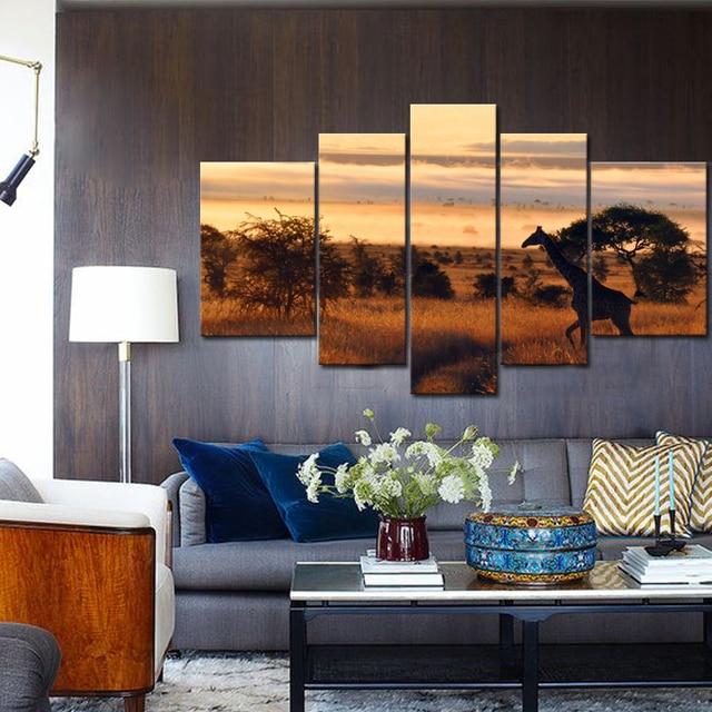 Banmu Unframed 5 шт. животных Жираф современного дома Декор стены холст картины арт HD печати Декор стен картины Модульная картина
