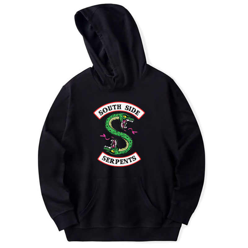 Wholesale Hoody women's hoodie Green Snake Patches Riverdale South Side Snake Patch Hoodie Sweatshirt Front and Rear Patch