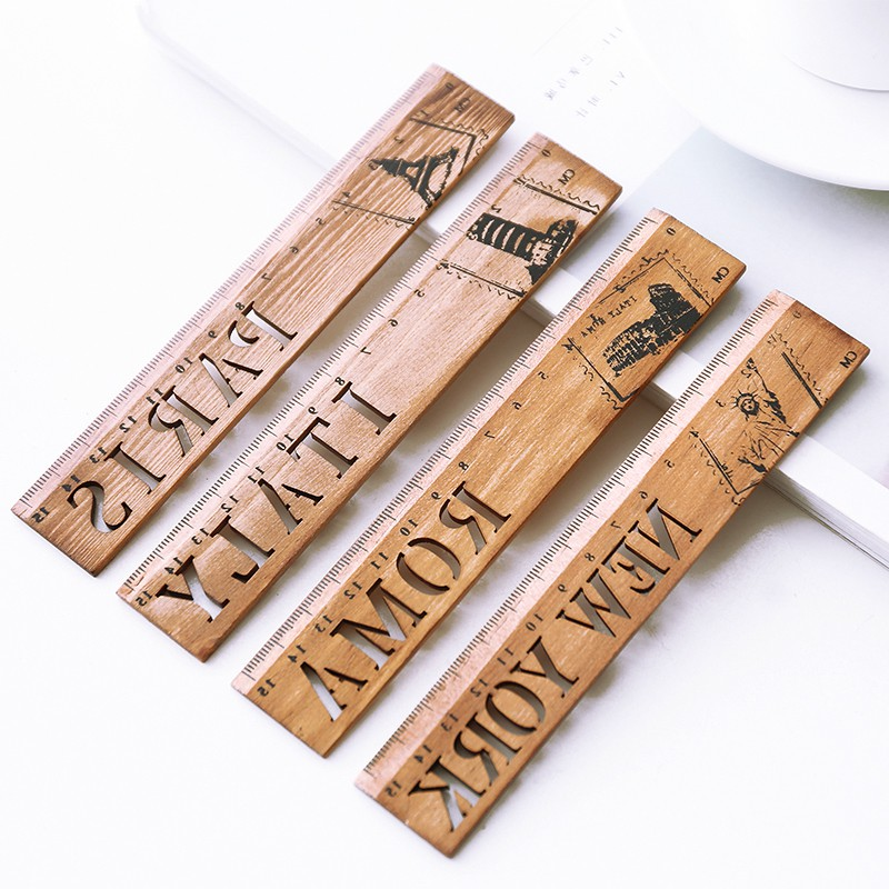 1pcs New York Roma Italy Paris Country Wooden Straight Ruler Measrure Drawing Tool Study Student Stationery