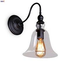 IWHD стеклянный Лофт античный винтажный настенный светильник для спальни гостиной лестницы Edison Ретро промышленные настенные светильники Wandlamp светодиодный