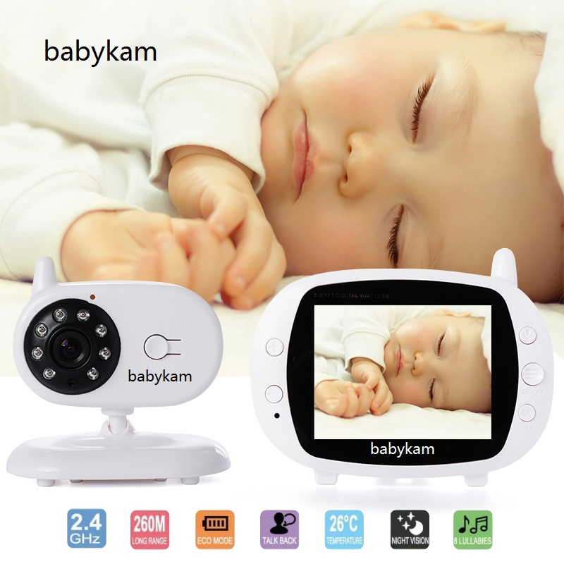 babykam baby monitor video nanny camera 3.5 inch IR Night Vision Intercom Lullabies Temperature Monitor baby monitor with camera