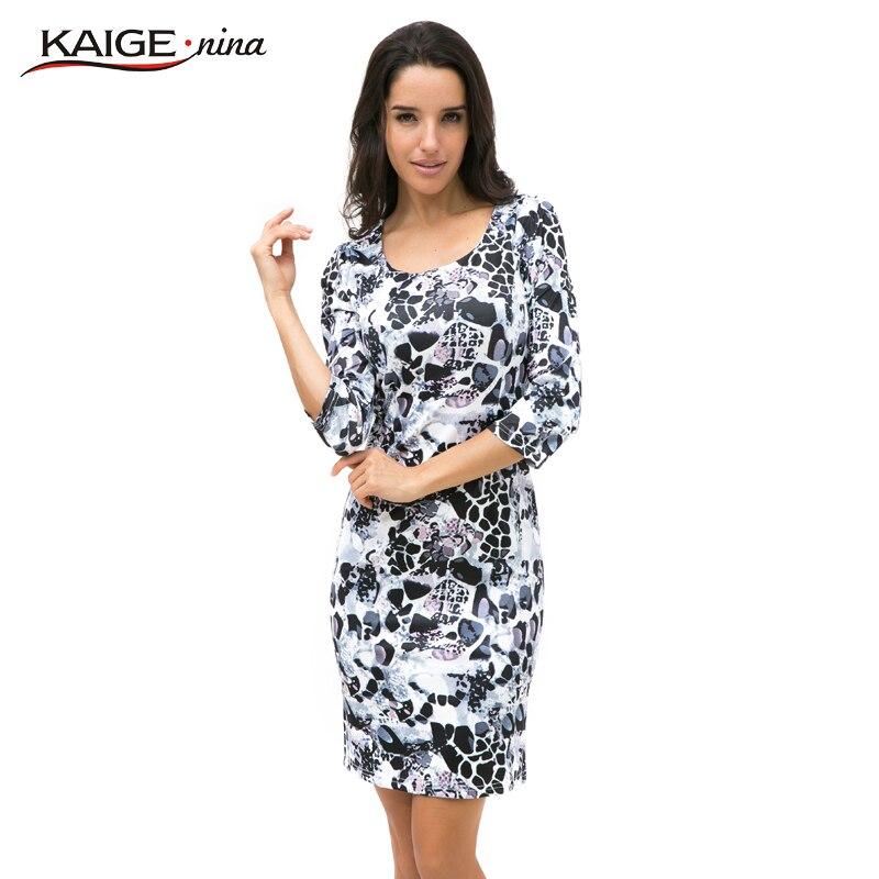 Kaige.Nina ملابس نسائية جديدة نمط الرواية 7 دقائق من الأكمام جولة طوق ضيق الطباعة بطول الركبة اللباس 1228