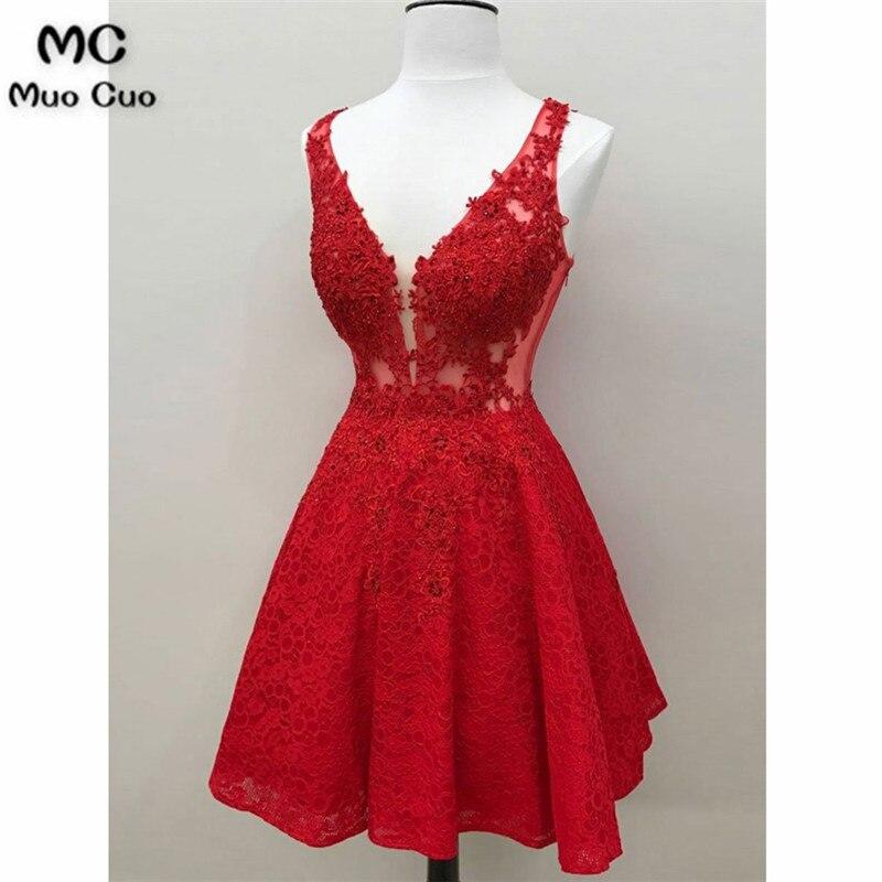 Mangas Fiesta Cortos Profundo Vestidos Sin Cóctel Rojos