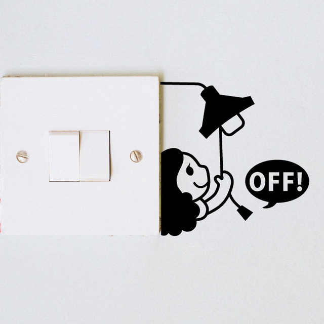 Cute Kawaii Off Light Creative Switch Sticker Dormitory