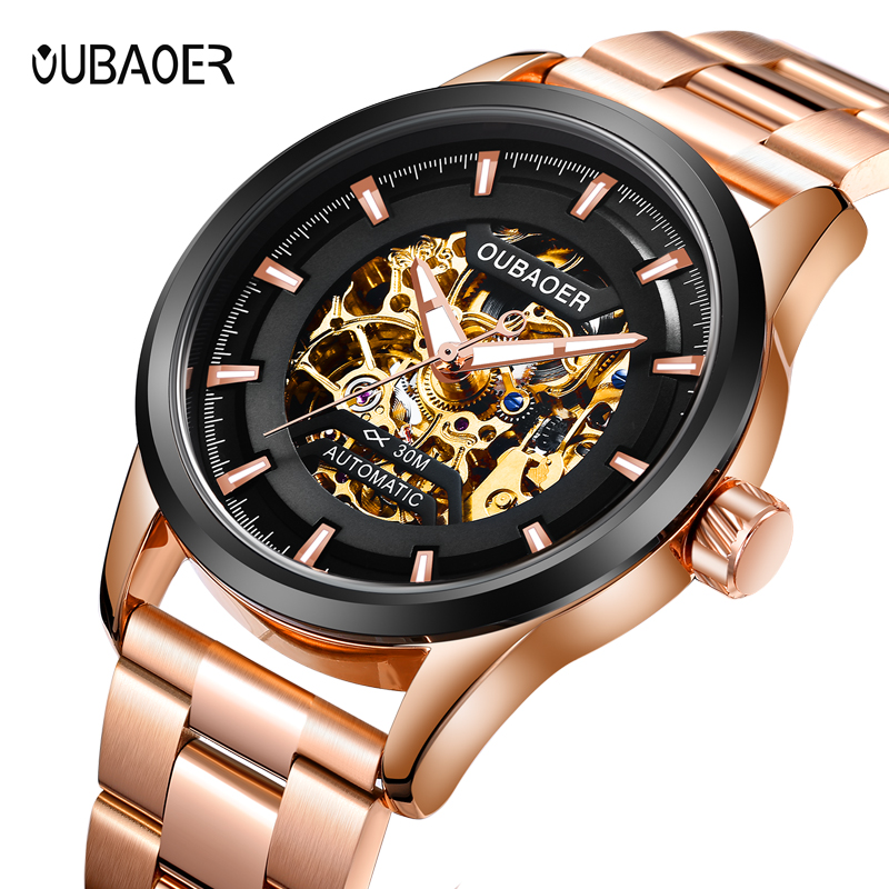 OUBAOER Brand Men watches Automatic mechanical watch Sport Casual business wristwatch Black clock hours relojes hombre цена