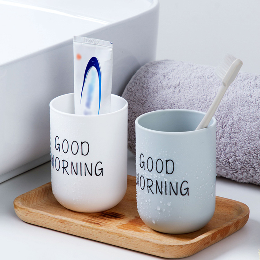 Home Bathroom Tumblers Toothbrush Toothpaste Holder Round Washing Tooth Cup PP Drinking Glass Tooth Mug Traveling Camping