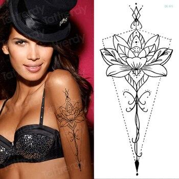 mandala lotus flower tattoo mehndi henna stickers for hands sexy arab tattoo black sketches tattoo designs waterproof body art 3