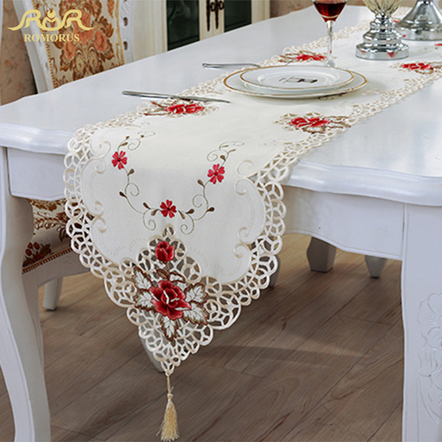 High Quality ROMORUS New Fashion Embroidered Floral European Style Table Runner Decorative  Table Covers Decoration Party Table Runners