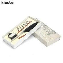 Kicute Ретро гусиное Перо гусиное перо перья металла DIP написание черными чернилами набор канцелярских Подарочная коробка с 6 СИБ коллекционные поставки