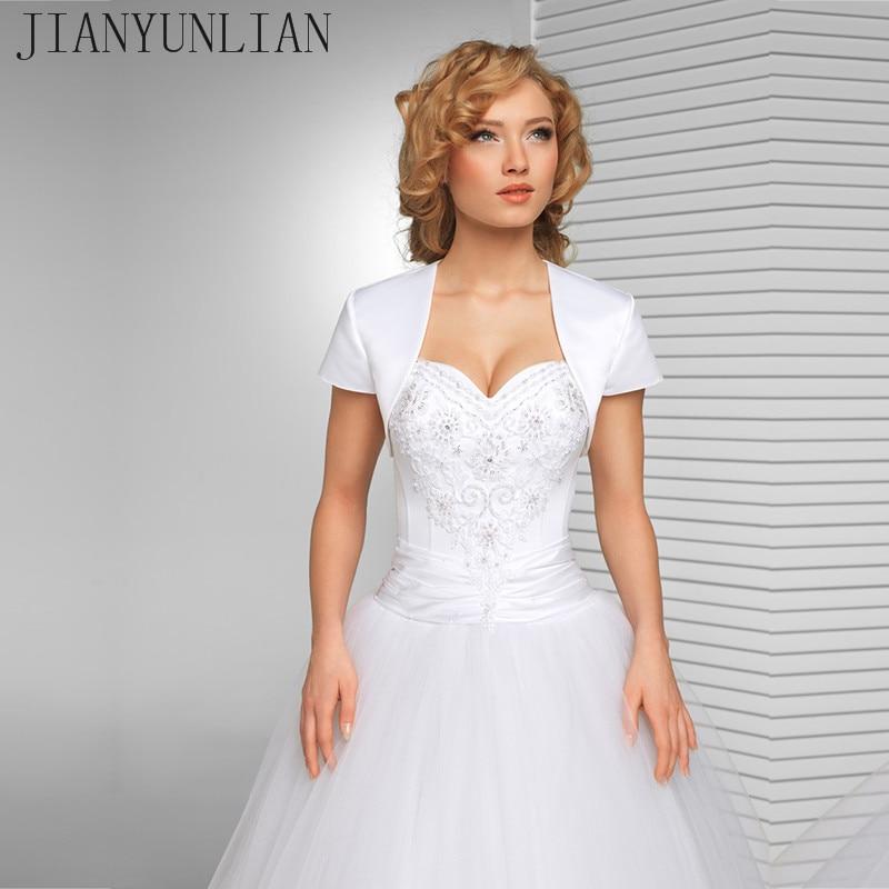 New Arrival White Bridal Jacket Wedding Satin Shrug Bolero Cap Sleeve Custom Made Bridal Jacket Custom Made Wedding Coat 2017