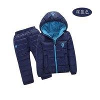 Kinder Set Jungen mädchen Kleidung sets winter 1-7year hoody Unten jacke + Hose Wasserdicht Schnee Warme kinder Kleidung anzug 6 farbe