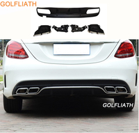 GOLFLIATH AMG C63 style ABS rear diffuser with exhaust tips for benz c class W205 amg package C200 C220 C250 C300 C350 2015 2016