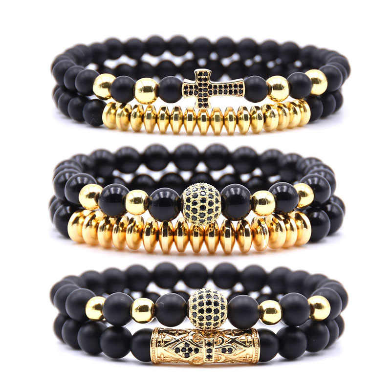 Bead Bracelets For Men&Women 2PCS/set Natural Stone Popular 8mm Matte Black 4 Color Pave CZ Cross Charm Bracelet Jewelry