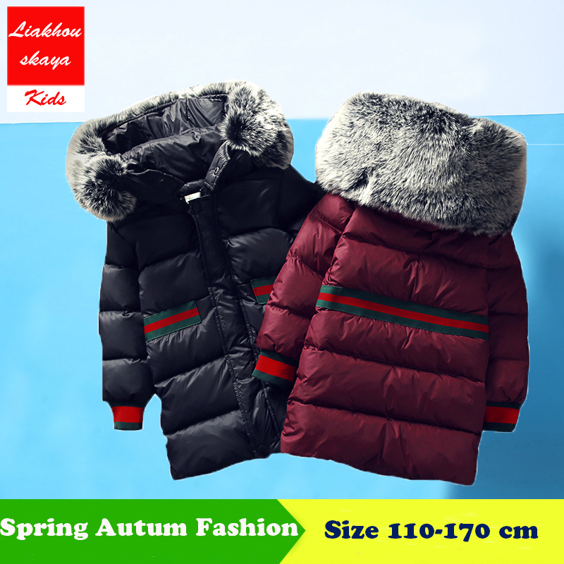 Liakhouskaya 2018 Childrens Winter Jacket Thick Cotton-Padded Long Solid Parkas For Girls Clothes Outerwear & Russian Fur Coats new winter fashion large fur collar cotton parkas thick women cotton padded jacket solid color zipper long sleeve wadded coats