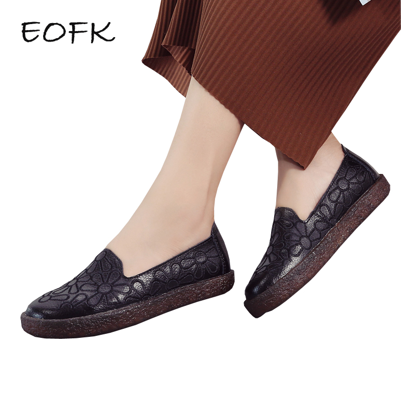 EOFK Women Loafers Flat Leather Shoes Woman Autumn Women s Shoes Slip On Embroider Casual Flats