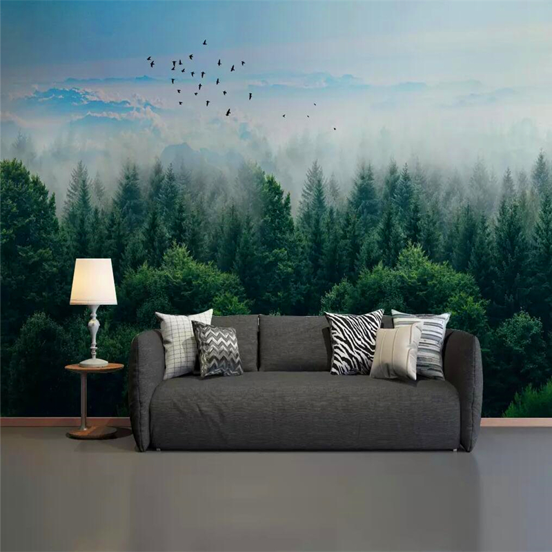 Decorative Wallpaper Nordic Minimalist Style Mist Forest Remote Mountain Birds Background Wall