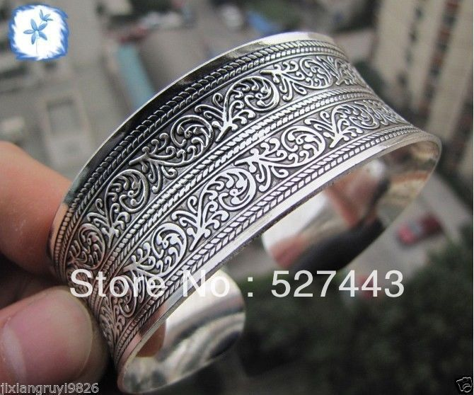 Wholesale free shipping 20PCS>>beautiful New Tibetan Tibet Silver Totem Bangle Cuff Bracelet
