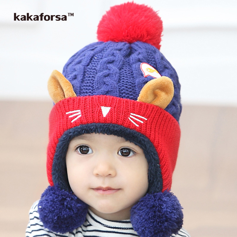 New Arrival Children Winter Woolen Yarn Pompom Hats with Cute Ears Girls Warm Soft Beanies Patchwork Hit Color Caps Neck Warmer healthy adults stripe design skull caps with solid color hats warm woolen yarn beanie inexpensive