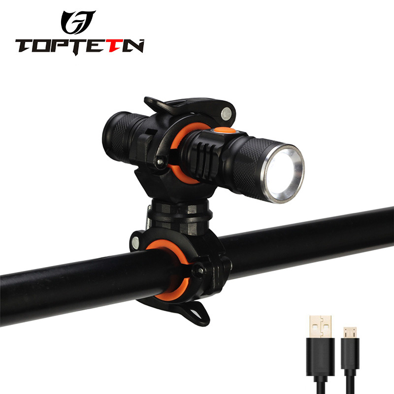 Bike Light UltraBright StretchZoom Bicycle Front LED Flashlight USB Rechargeable