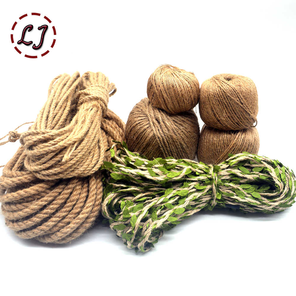 Natural Burlap Hessian Jute Twine Cord Hemp Rope leaf String Gift Packing Strings Christmas Event Party Supplies handmade DIY