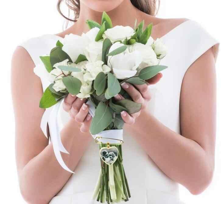 Personalise Wedding Bouquet Photo Charm Gold Bouquet Photo Pendant