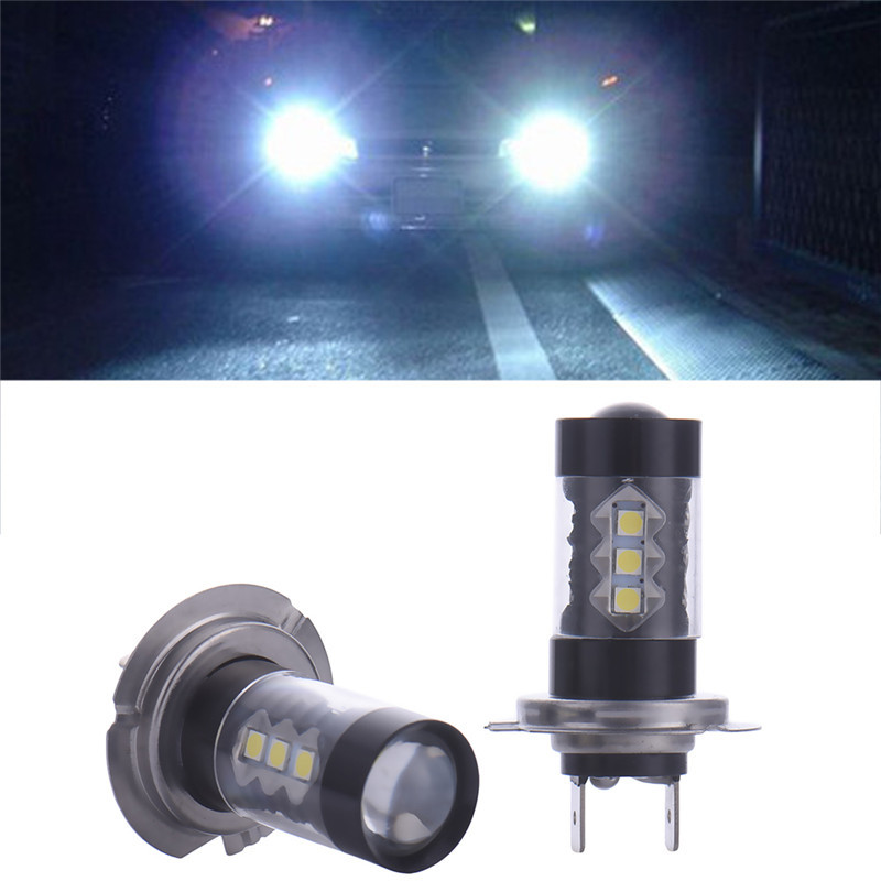 2pc 80W H7 LED Bulb 16 SMD Car Fog Light DC 12V~24V White Headlight DRL Fog Lamp Light Sourcing 1920lm Hot Selling l20121211 1 h7 12w 600lm 6500k 4 smd 7060 led white light car dipped headlight dc 12v