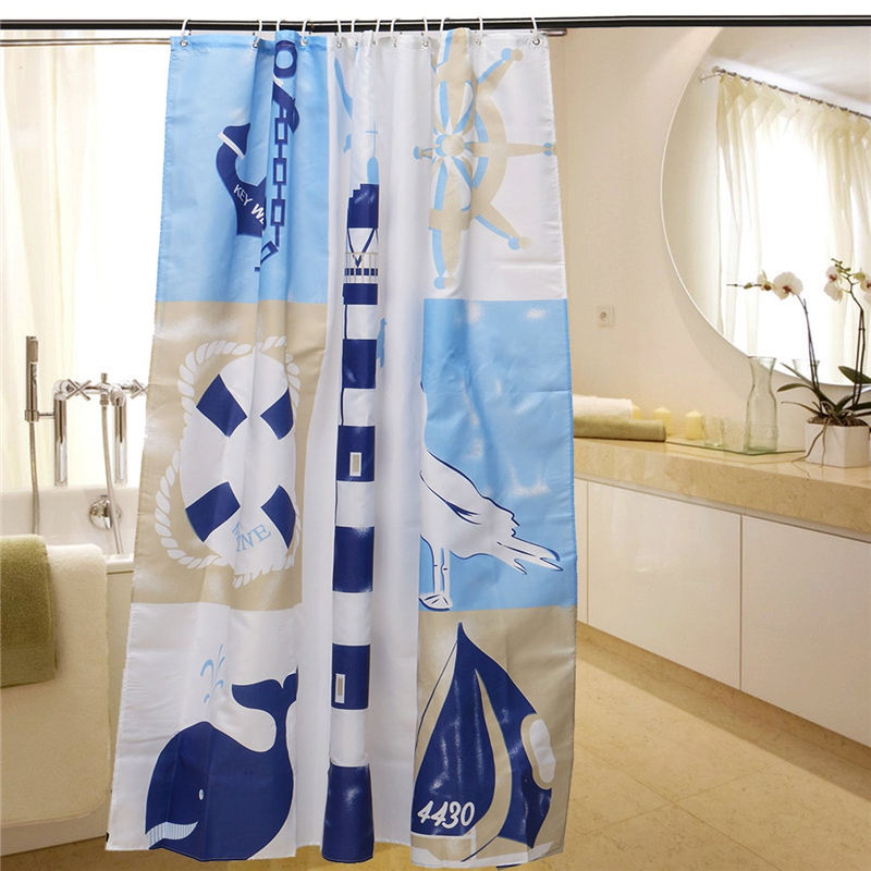 Nautical Theme Waterproof Bathroom Shower Curtain Sheer Panel Mildewproof Bath Curtains With 12 Hooks Home Decor Gift