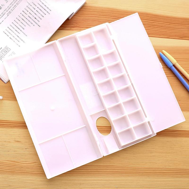 Deli Professional Plastic Oil Watercolor Painting Palette Folding Art Mixing Watercolor Palette Tray Artist Paint School Supplie