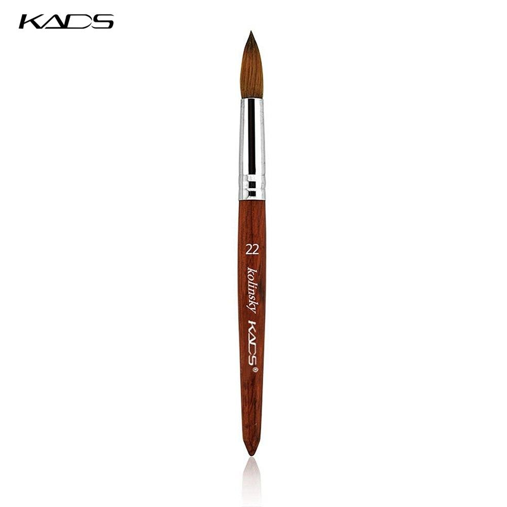 En gros 5 pièces/ensemble 100% Kolinsky Sable acrylique brosse taille 22 # stylo avec manche en bois rouge acrylique brosse pour Nail Art brosse