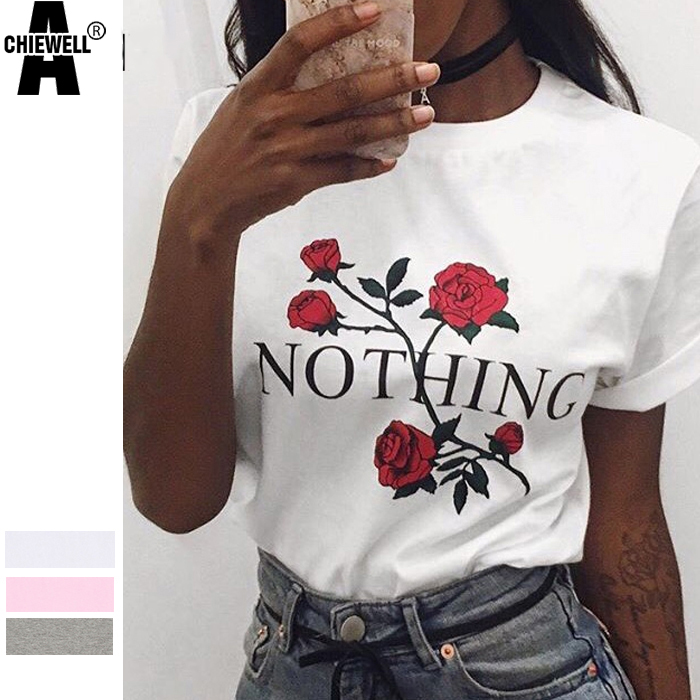 Achiewell Summer Women Nothing Letter Rose Print T Shirt Casual Short Sleeve O Neck Basic T