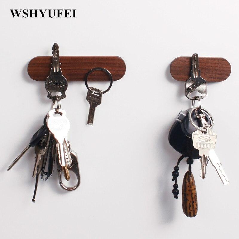 WSHYUFEI Solide bois clé titulaire tenture mur En Bois suspendus clés De Voiture Multifonctionnel aspiration magnétisme Noyer Hêtre