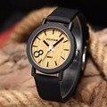Simulação Relojes Homens De Quartzo Relógios Casual Pulseira de Couro De Cor De Madeira De Madeira Relógio de Madeira relógio de Pulso Masculino Relogio masculino