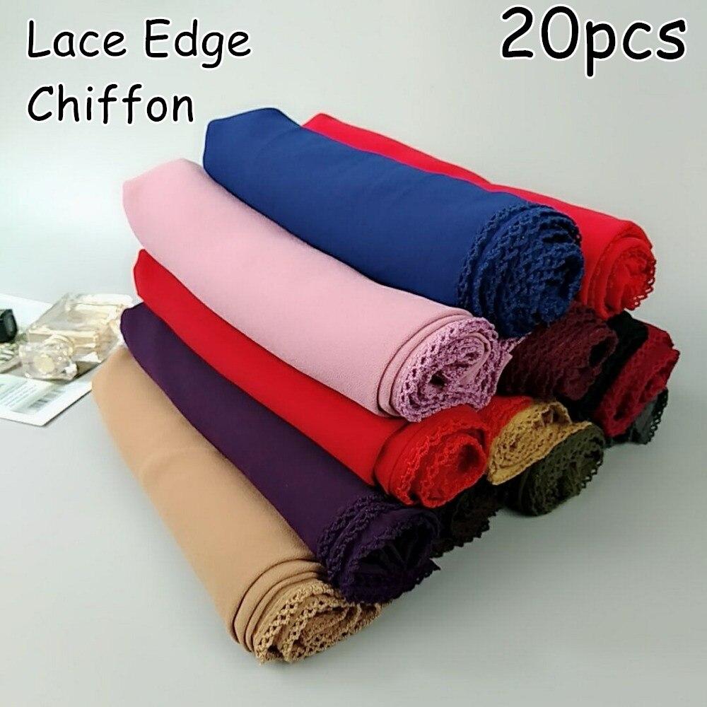 V6  High Quality Bubble Chiffon Lace Long Hijab Solid Wrap Shawls Scarf Scarves 180*75cm 20pcs 1lot Can Choose Colors