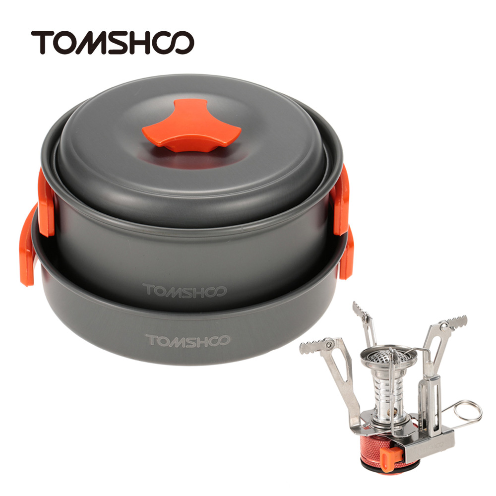 tomshoo outdoor stoves camping picnic pot stove set hiking cookware