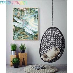 Diy pełna okrągły żywica dla dzieci obraz w hafcie diamentowym dżetów zestaw ważka i kwiat Cartoon mozaika Deco jako Hobby prezent