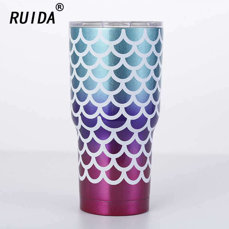 Free Shipping Thermoses 30oz Mermaid Mug Stainless Steel Vacuum Flask Travel Coffee Cup Car Insulated Tumbler Water Bottles