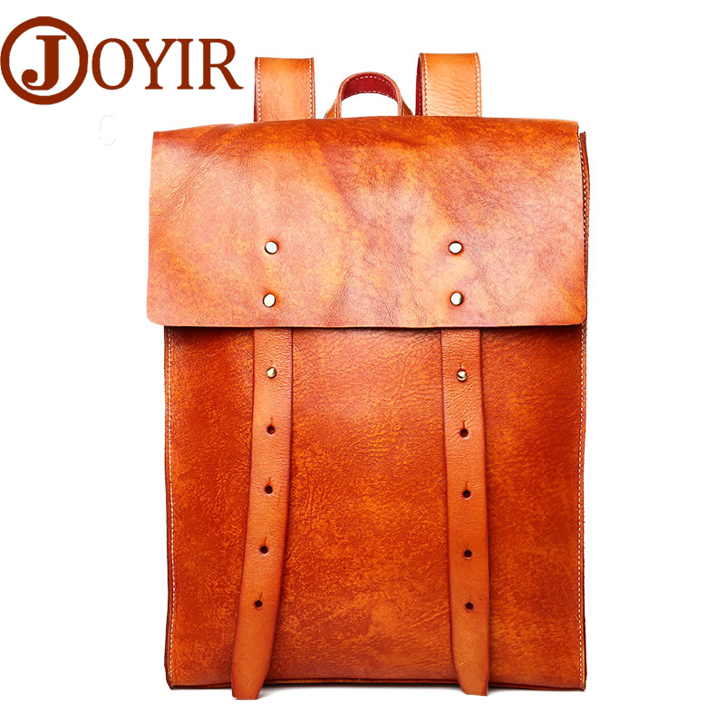 JOYIR Cow Leather Men Backpack Vegetable Tanned Leather man bag Causal Fashion Shoulder Bag Travel Bags For male Man Bag 6197 male bag vintage cow leather school bags for teenagers travel laptop bag casual shoulder bags men backpacksreal leather backpack