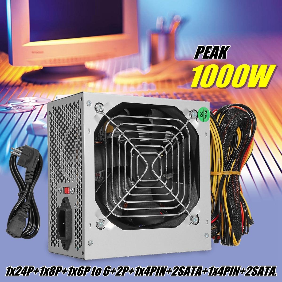 Max 1000 Вт ATX питание тихий вентилятор для Intel AMD блок питания для ПК PC компьютер шахтер
