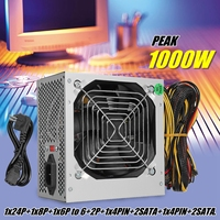 Max 1000W ATX Power Supply Quiet Fan For Intel AMD PC PSU PC Computer Miner