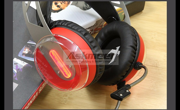 Xiberia X12 USB Gaming Headset Surround Sound Noise Canceling Luminous LED Light Over ear Headphones with Microphone for PC (7)