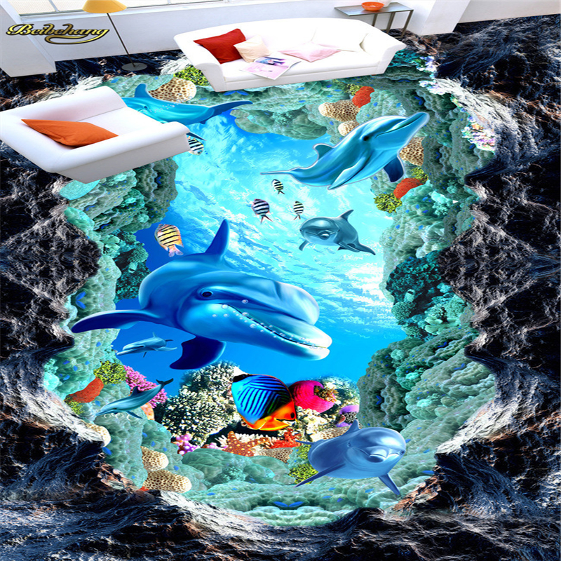 beibehang Dolphin Mediterranean Custom Photo mural Wallpaper Underwater 3D Mural PVC Self-adhesive Waterproof Floor Wall paper free shipping custom dolphin under sea world floor mural children room school nursery waterproof floor wallpaper mural