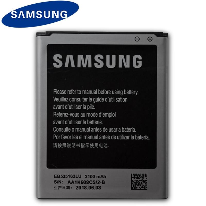 Bateria de substituição de samsung original eb535163lu para samsung i9082 galaxy grand duos i9080 i879 i9118 neo + i9168 i9060 2100 mah
