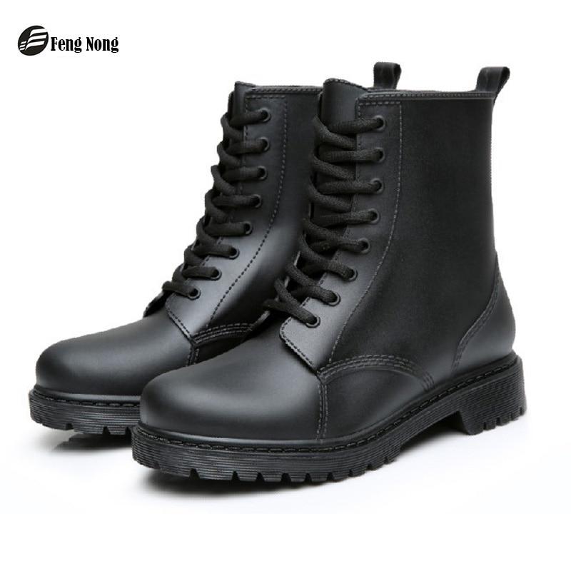 Фэн Нонг непромокаемые сапоги водонепроницаемая обувь женские водонепроницаемые резиновые на шнуровке ботинки Martin шитья твердый обувь на плоской подошве chundong809