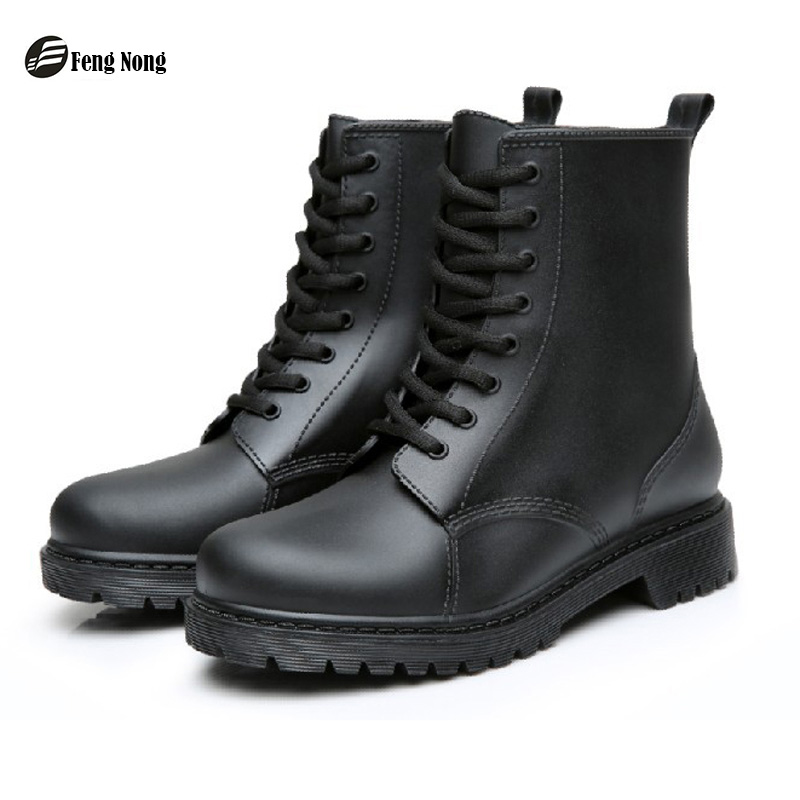 Feng Nong Rain Boots Waterproof Shoes Woman Water Rubber Lace Up Mature Boots Sewing Solid Flat With Shoes Chundong809-in Ankle Boots from Shoes