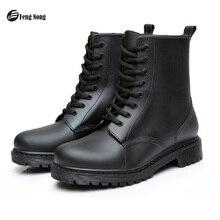 Feng Nong bottes de pluie chaussures imperméables femme en caoutchouc à lacets bottes matures à coudre solide plat avec des chaussures Chundong809
