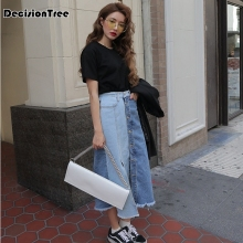 2019 Denim Skirt Women Plus Size Casual High Waist Denim Skirts Pencil Patchwork Stretch Hip jean Skirt Long Denim Skirt destroyed fishnet insert fray trim denim skirt