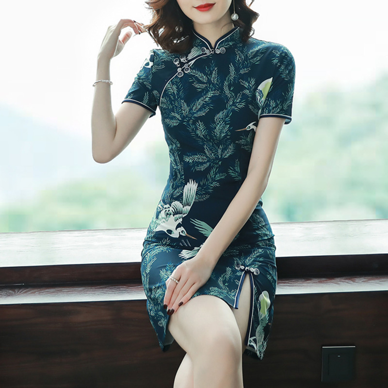 0258 Summer Woman Qipao Chinese Style Short Sleeve Dresses For Women High Waist Slim Mini Dress In Women Sexy dresses Female in Dresses from Women 39 s Clothing