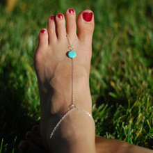 Fashion Mittens Crystal Bangle Round Turquoise Simple Romantic Spanish Style Ankle Bracelet
