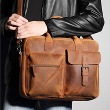 2017 Men's Genuine Leather Vintage Men Briefcases 14inches Laptop Handbags Brown Shoulder Bag Male Business Messenger Casual Bag